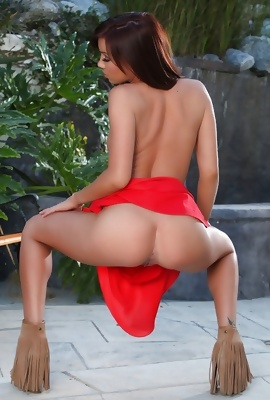 Capri Anderson in hot red dress pussy play