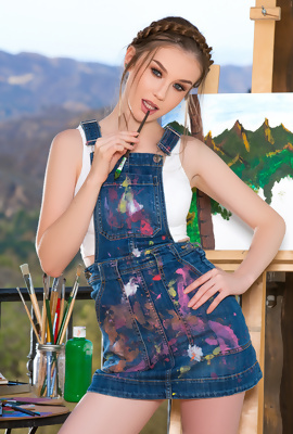 Young Painter Emily Bloom paints her body