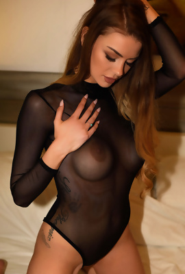 Emelia Paige In Sexy Black Bodysuit