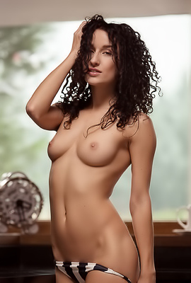 Curly Girl Lucy M Posing Totally Naked
